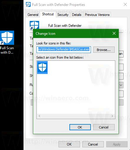 Create a shortcut for Windows Defender Full Scan in Windows 10
