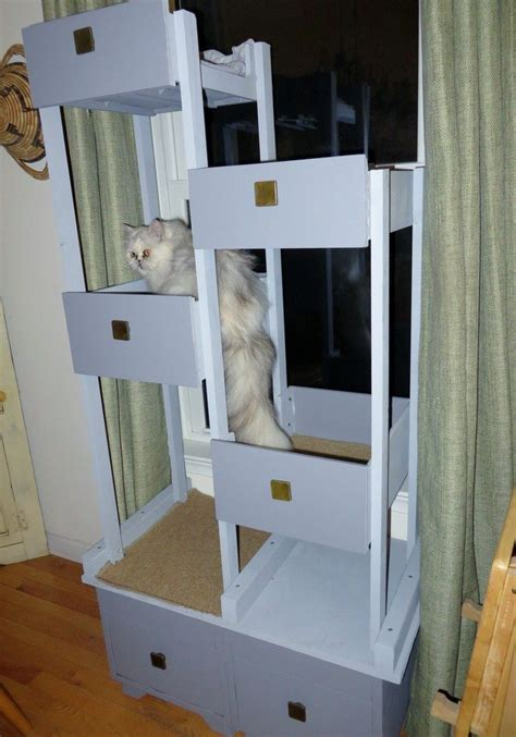 Build a unique and inexpensive cat tree using old drawers