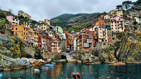 Cinque Terre, Italy, Sea, Hill, Building, House, HDR