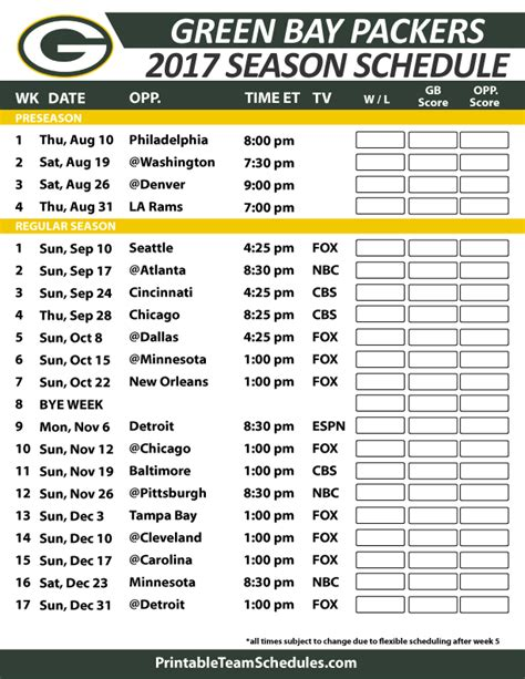 2017 Green Bay Packers Schedules Wallpaper   Broncos