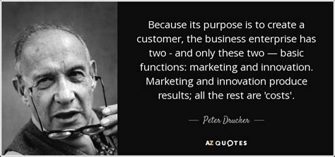 Peter Drucker quote: Because its purpose is to create a