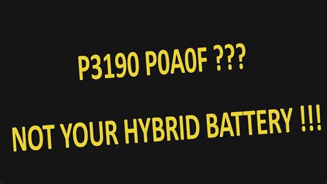 Prius Codes P3190 P3191 P0A0F Explained - YouTube