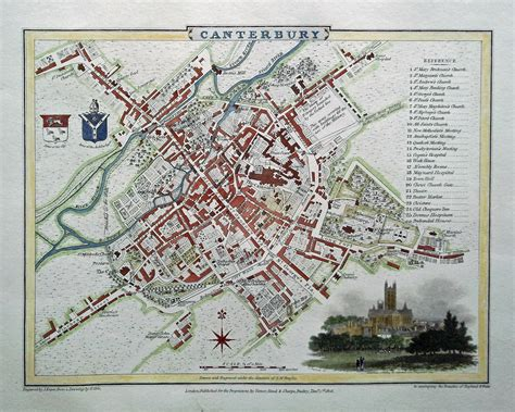 Old Town Map of Canterbury dated 1806